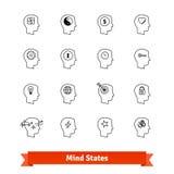 Mind states thin line art icons set Stock Image