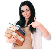 Mind that! Study!. Young woman draws attantion to books isolated on white background Stock Images