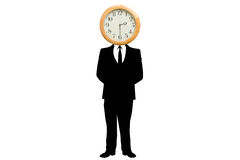 Businessman with head replaced by clock Stock Image