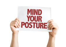 Mind Your Posture card isolated on white Royalty Free Stock Photos