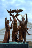 Mindanao peace monument. The Mindanao peace monument with angel and dove, a priest, a lumad (indigenous people) and a moro (Muslim) symbolizing the three ethnic Stock Image