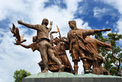 Mindanao peace monument. The Mindanao peace monument with angel and dove, a priest, a lumad (indigenous people) and a moro (Muslim) symbolizing the three ethnic Stock Images