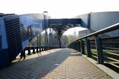 Mindaugas bridge over Neris river in Vilnius city royalty free stock images