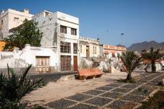 Mindelo arkitektur övergav byggnader Arkivfoto