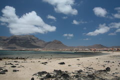 Mindelo, Cabo Verde Island. Mindelo is just a small island. Usually you go from here to Santo Antao for trekking Stock Photography