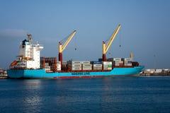 Volta - Maersk Line cargo container ship. MINDELO, CAPE VERDE - DECEMBER 08, 2015: Maersk Line cargo container ship Volta in Porto Grande terminal of  Sao Royalty Free Stock Photo