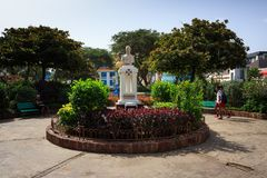 Mindelo attractions Sa De Bandeira statue royalty free stock photos