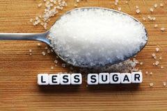 Minder suikertekst van betegelde brievenblokken en suikerstapel op een lepel die het op dieet zijn concept voorstellen Royalty-vrije Stock Foto