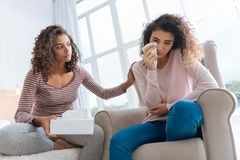 Mindful girl calming down her younger sister Royalty Free Stock Photography