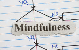 Mindfulness. Cut out in a flowchart background Stock Photos