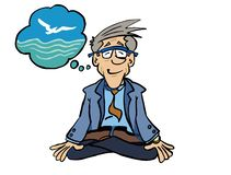 Senior executive practicing mindfulness in lotus position. stock illustration