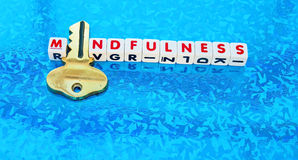 Mindfulness holds the key. Text 'mindfulness' in red uppercase letters inscribed on small white cubes with letter 'i' replaced by golden key, blue patterned Royalty Free Stock Images