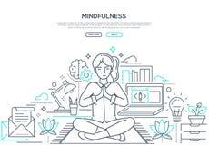 Mindfulness - ligne moderne bannière de Web de style de conception illustration libre de droits