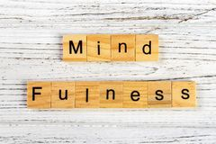Mindfulness made with wooden blocks concept. Yoga, succeed,open-minded Royalty Free Stock Photography