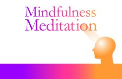 Mindfulness meditation is the theme of this graphic stock illustration