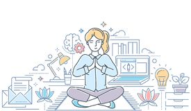 Mindfulness - modern line design style colorful illustration. On white background with copy space for text. Composition with a woman meditating in lotus royalty free illustration