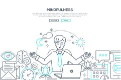Mindfulness - modern line design style web banner. On white background with copy space for text. A composition with a businessman meditating at work, sitting at royalty free illustration