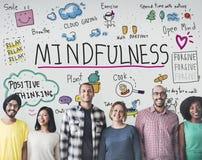 Mindfulness optymizm Relaksuje harmonii pojęcie obrazy royalty free