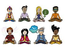 Collection of eight characters practicing mindfulness. stock illustration