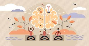 Free Mindfulness Vector Illustration. Mentally Healthy Exercise With Yoga Pose. Royalty Free Stock Images - 132871369