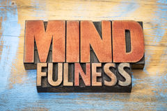 Mindfulness word abstract in vintage wood type Stock Photo
