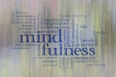 Mindfulness word cloud. Against motion blurred landscape abstract Stock Photo