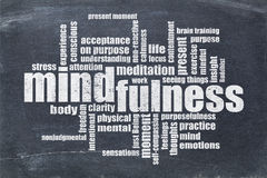 Mindfulness word cloud on blackboard Royalty Free Stock Photos