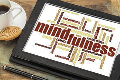 Mindfulness word cloud on a digital tablet Stock Images