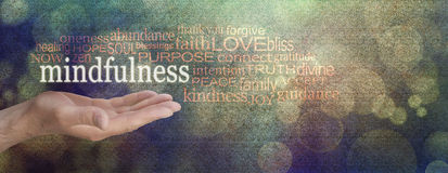 Mindfulness Word Cloud Grunge Banner. Male hand palm up with a white MINDFULNESS word floating surrounded by a relevant word cloud on a grainy grunge bokeh Royalty Free Stock Photos