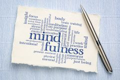 Mindfulness word cloud on handmade paper. Mindfulness word cloud - handwriting on a sheet of rough Khadi paper royalty free stock photos