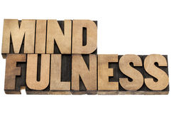 Mindfulness word in wood type stock photos