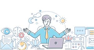 Mindfulness at work - modern line design style illustration. On white background. Colorful composition with a businessman meditating in the office, sitting at royalty free illustration