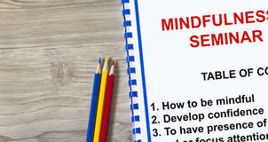 Mindfulness. Workshop- with topics on a coversheet of a lecture Stock Images