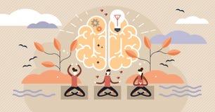 Mindfulnessvektorillustration Geistlich gesunde Übung mit Yogahaltung stock abbildung