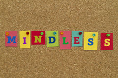 Mindless word written on colorful notes Stock Photos