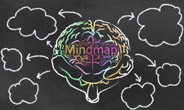 Mindmap with a Brain and Empty Clouds Royalty Free Stock Images