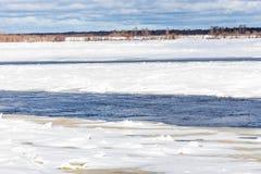 Mindre kulle och isflaken på vinterfloden arkivfoto