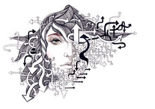 Minds. Beautiful womans face with many arrows Royalty Free Stock Photos