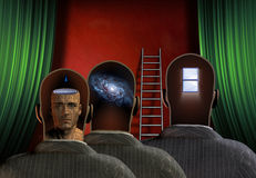Minds. Treee figures reveal minds before ladder and curtains Stock Photography