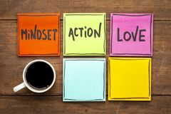 Mindset, action, love concept on napkin Stock Photography