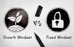 Mindset di fronte al concetto di pensiero di negatività di positività Immagini Stock