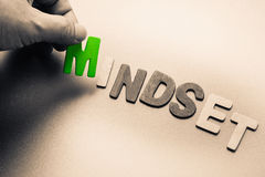 Mindset. Finger pick a wood letters of Mindset  word Royalty Free Stock Image