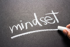Mindset. Hand writing Mindset topic with chalk stock photography