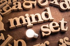 Mindset Idea Topic. Mindset word in scattered wood letters with glowing white light bulb stock photography