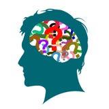 The mindset of men. face silhouette vector illustration