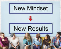 Mindset oposto ao conceito de pensamento da negatividade da positividade fotografia de stock