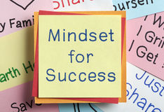 Mindset for Success written on a note. Top view of Mindset for Success handwritten on a note royalty free stock photos