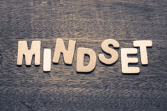Mindset. Wood letters of MINDSET word on wood background royalty free stock photography