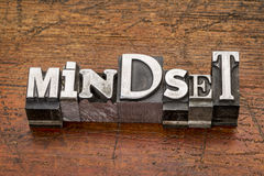 Mindset word in metal type. Mindset  word in mixed vintage metal type printing blocks over grunge wood Royalty Free Stock Photos