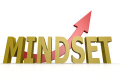 Mindset word with red arrow. Image with hi-res rendered artwork that could be used for any graphic design Royalty Free Stock Images
